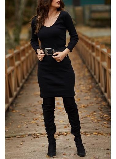 XHAN V Yaka Balık Elbise  9Kxk6-41663-02 Siyah